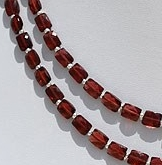 8 inch strand Rubellite Garnet  Faceted Rectangles