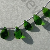 8 inch strand Chrome Diopside  Flat Pear Briolette