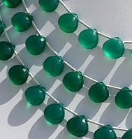 8 inch strand Green Onyx  Heart Briolette