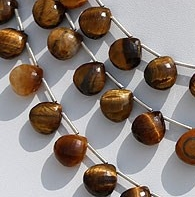8 inch strand Tiger Eye  Heart Briolette