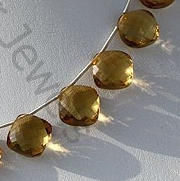 aaa Cognac Quartz Gemstone Cushion Beads
