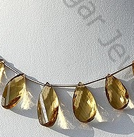 wholesale Honey Quartz Gemstone Twisted Flat Pear