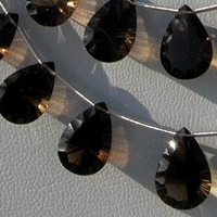 8 inch strand Smoky Quartz Gemstone  Concave Cut Pan