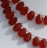 8 inch strand Carnelian Gemstone Twisted Flat Pear