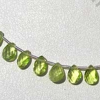 wholesale Peridot Gemstone Beads  Twisted Flat Pear