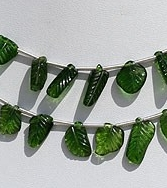 wholesale Chrome Diopside Carved Leaf Beads