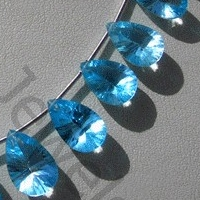 aaa Blue Topaz Gemstone Concave Cut Pan