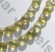 aaa Lemon Quartz  Concave Cut Faceted Heart
