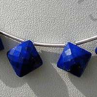 8 inch strand Lapis Gemstone Puffed Diamond Cut