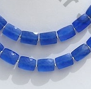 wholesale Navy Blue Chalcedony Faceted Rectangle
