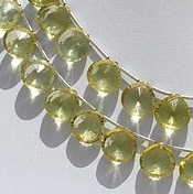 8 inch strand Lemon Quartz  Concave Cut Faceted Heart