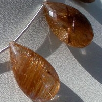 wholesale Copper Rutilated Quartz  Flat Pear Briolette