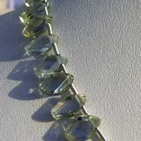 8 inch strand Green Amethyst Gemstone Twisted Flat Pear