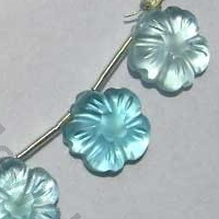 Blue Topaz Gemstone  Flower Beads
