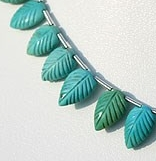8 inch strand Sleeping Beauty Turquoise Carved leaf