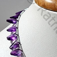 8 inch strand Amethyst Gemstone Twisted Flat Pear
