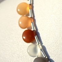 8 inch strand Peach Moonstone  Heart Plain