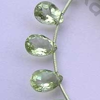 8 inch strand Green Amethyst Gemstone Pan Beads