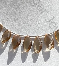 wholesale Champagne Citrine  Twisted Flat Pear