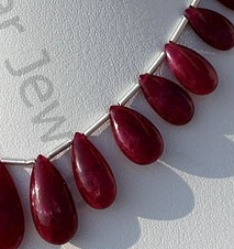 aaa Ruby Gemstone  Flat Pear Plain