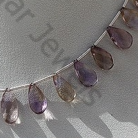 8 inch strand Ametrine Gemstone Beads  Twisted Flat Pear