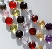 8 inch strand Semi Precious Gemstone Multi Puffed Diamond