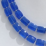 8 inch strand Navy Blue Chalcedony Faceted Rectangle