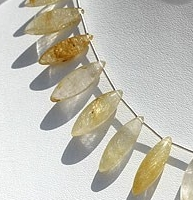 8 inch strand Golden Rutilated Quartz Dew Drops