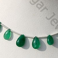 aaa Emerald Gemstone Beads  Flat Pear Plain