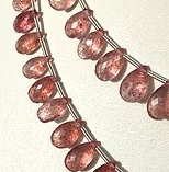 8 inch strand Strawberry Quartz Flat Pear Briolette