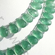 Green Strawberry Quartz Flat Pear Briolette