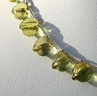 8 inch strand Lemon Quartz Faceted Chubby Heart