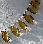aaa Honey Quartz Gemstone Twisted Flat Pear