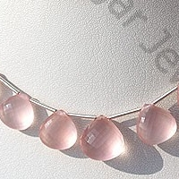 8 inch strand Rose Quartz Gemstone Heart Briolette