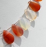 aaa Mexican Fire Opal  Gemstone  Twisted Flat Pear