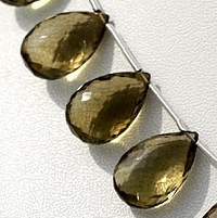 wholesale Olive Quartz  Flat Pear Briolette