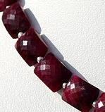 8 inch strand Dyed Ruby Faceted Rectangles