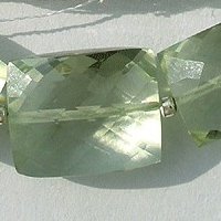 8 inch strand Green Amethyst Gemstone Faceted Rectangles