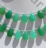 wholesale Chrysoprase Gemstone  Flat Pear Briolette