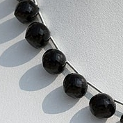8 inch strand Black Spinel Onion Shape Beads