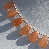 8 inch strand Orange Moonstone Flat Pear Briolette