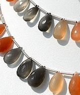 8 inch strand Peach Moonstone Flat Pear Briolette