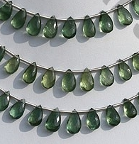 wholesale Green Apatite Gemstone Flat Pear Briolette