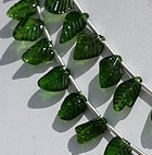 8 inch strand Chrome Diopside Carved Leaf Beads