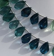 8 inch strand Fluorite Gemstone Beads  Twisted Tear Drops