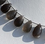 8 inch strand Black Moonstone Flat Pear Briolette