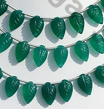wholesale Green Onyx  Carved Leaf