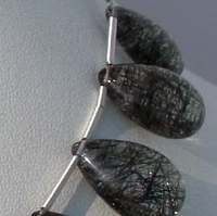 aaa Black Rutilated Quartz  Flat Pear Plain