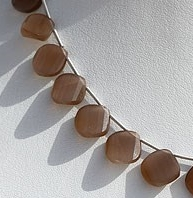 8 inch strand Coffee Moonstone Twisted Heart Briolette