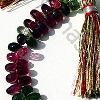 8 inch strand Tourmaline Gemstone Beads  Tear Drops Briolette